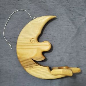"""Moon & Star Celestial Hanging Wood Candle Holder 9"""" Tea Light Handcrafted Statue"""