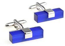 Modern Contemporary Blue Fibre Optic Oblong Cufflinks from CUFFLINKS.DIRECT