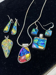 Beautiful Dichroic Glass 3 Pendants and 2 Matching Sets Earrings Sterling Chain