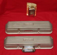 """1960s FORD FE WEIAND Valve Covers WFM-542-B """"SAY WHY-AND"""" w/ NOS OFFY Breathers"""