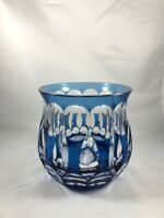 NACHTMANN COBALT BLUE CUT TO CLEAR CRYSTAL BOWL STUNNING 4 1/2""
