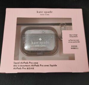 NWT Kate Spade Liquid AirPod Pro Case Clear & Silver Glitter
