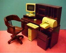Wooden Computer cpu Desk & Chair Dollhouse Furniture Office!