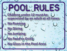 "SWIMMING ""POOL RULES"" SIGN 30x40cm weatherproof UV stable for fence, glass, wall"