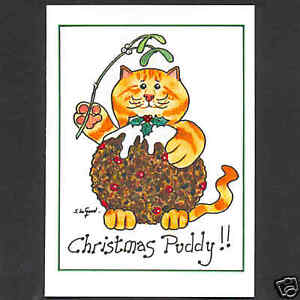COMIC GINGER TABBY CAT CHRISTMAS CARDS FROM ORIGINAL PAINTING BY SUZANNE LE GOOD
