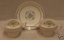 SEBRING ROYAL CHINA 2 TEA CUPS AND SAUCER FLORAL DESIGN