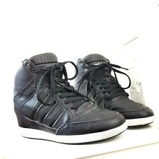 Adidas Neo Wedge Trainers Sneakers Boots Black Platform High Top Size 8 UK