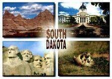 South Dakota Multi-View Postcard Badlands Rushmore State Capitol Prairie Dogs