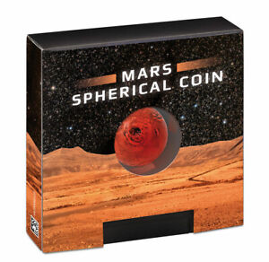 2021 Barbados Mars Spherical 1oz Silver Colorized Antiqued $5 Coin BU PRESALE