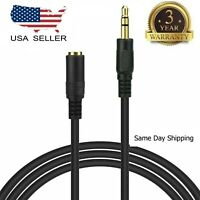"""10ft 3.5mm 1/8"""" Stereo Audio Aux Headphone Cable Extension Cord Male to Female"""
