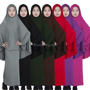 2pcs Muslim Child Abaya Kids Girls Prayer Long Maxi Dress+Full Cover Hijab Arab