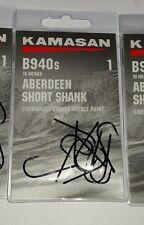 KAMASAN B940s S/1 SHORT SHANK ABERDEEN CHEMICALLY  MATCH SEA FISHING HOOKS NEW