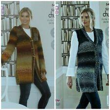 KNITTING PATTERN Ladies Easy Knit Coat & Waistcoat Super Chunky King Cole 5460