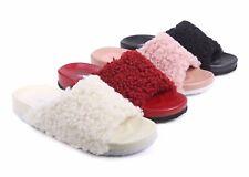 4 Color Faux Fur Fluffy Flip-Flop Slip-on Open Toe Womens Sandals Flip Flops