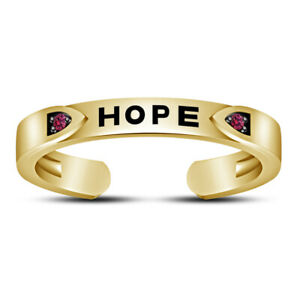 """Womens 14K Yellow Gold  Finish Round Pink Sapphire """"HOPE"""" Letter Toe Ring"""