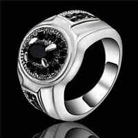 Jewelry Black Sapphire White Rhodium Plated Wedding Rings Gift Size 9