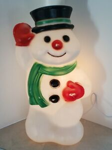 """Vintage Empire 18"""" Jolly Waving Frosty Snowman Christmas Blow Mold Light Cord"""