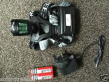 Zoom Headlamp Light CREE 2000Lu XML T6 LED UK 3 pin Charger + 2x18650 Battery UK