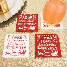 Christmas Coasters x 4 10cm x 10cm Red and White Table Bar Decorations