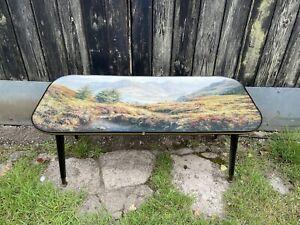 Vintage Retro dansette table glass top With Rex N Preston Stag Print
