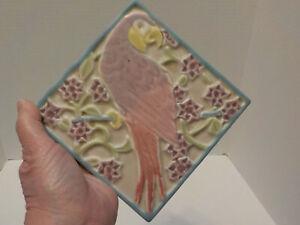 Antique 1930 ROOKWOOD POTTERY Parrot Tile Trivet 3077 in Purple, Mauve, blue