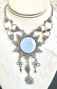 Peruvian Blue Angelite Semi-precious Stone Medallion Necklace Alpaca Silver Peru