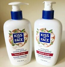 2 NEW BOTTLES KISS MY FACE SONORA ALMOND HAND SOAP 9oz NIP