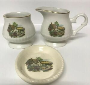 Price Kensington Potteries Sugar Creamer Tea Bag Holder Cottage Village Scene