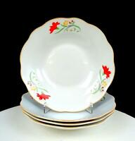 "ASIAN PORCELAIN RED & YELLOW FLORAL SCALLOPED 4 PIECE 8"" SOUP BOWLS"