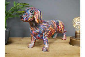 Large Neon Graffiti Style Standing Resin Dachshund Sausage Dog   Height 20 cm