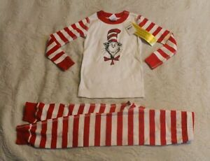 Hanna Andersson Boy's Dr. Seuss Stripe Long John Pajamas CD4 Red/White Size 4
