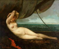 Gustave Courbet Nude reclining by the sea Giclee Paper Print Poster Reproduction