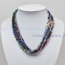 Multi-Color 3mm Faceted Natural Gemstone Round Beads Necklace Tibet Silver Clasp
