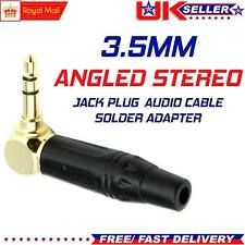 3.5mm Right Angle Angled Jack Plug Stereo Audio Adapter Cable Solder Terminal UK