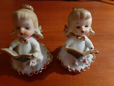 2 Vintage George Lefton Christmas Caroling Angels Bell Figurines