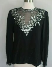 ARGENTI Silk Sheer Black Sequin Flame Silver Evening Top Shirt Size S