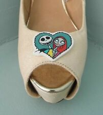 2 Quirky Nightmare before Christmas Jack & Sally Heart Light Coloured Shoeclips