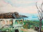 Modernist landscape house oil painting signed