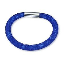 made with Swarovski Crystal ELEMENTS Mesh Stardust Magnetic Bracelet Single Blue
