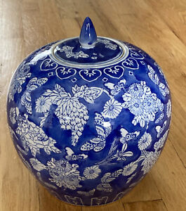 CHINESE SIGNED PORCELAIN BLUE & WHITE GINGER JAR BUTTERFLIES FLOWERS (1)