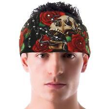 Skull Roses Crystal Rhinestone Choptop Bandana Headband Headscarf Biker Headwrap