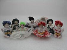 lotto bambole ceramica porcellana Bambini con mani alzate Vintage Pizzo Pois