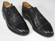 GRENSON Black Perf Captoe Oxford Shoes, 8 D US, Bench Made in England