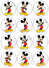 Mickey Mouse Edible Wafer Paper Cupcake Toppers 12 pcs