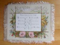 Vintage Victorian Christmas Card 2-Sided, Silk Fringe Flowers Chromolitho Large
