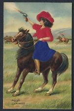 COWGIRL ON HORSEBACK SHOOTING GUN - embossed silk applique fabric postcard