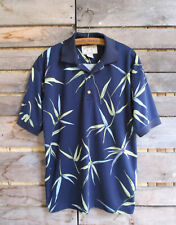 Bamboo Cay Polo Shirt Blue Bamboo Leaf Print Aerocool Golf Small