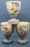 3 Vintage Wood Wooden Egg Cups St. Jean De Luz France Handpainted Zazpiak Bat
