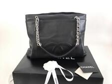 Authentic Chanel Timeless CC Black Soft Caviar Shopping Tote Bag SHW