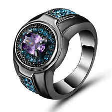 Women's Jewelry Amethyst&blue Black Rhodium Plated Fantastic Rings Gifts Size 7